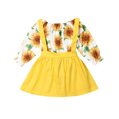 Newborn Baby Girls Toddler Suspenders Skirt Set Long Sleeve Sunflower Romper+Yellow Dress Outfit Set (Yellow, 12-18M)