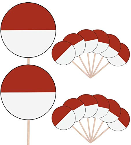 Monaco Vlag Party Food Cake Cupcakes Picks Sticks Vlaggen Opstaan Decoraties Toppers (Pak van 14)