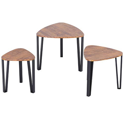 HOMCOM 3 PCs MDF Steel Nesting Table Coffee Table Set Multifunctional End Side Table Living Room Furniture Walnut Wood Grain