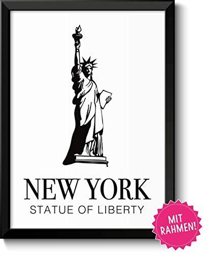 New York Statue of Liberty Freiheitsstatue Bild im schwarzem Holz-Rahmen Geschenk Geschenkidee für NYC Liebhaber