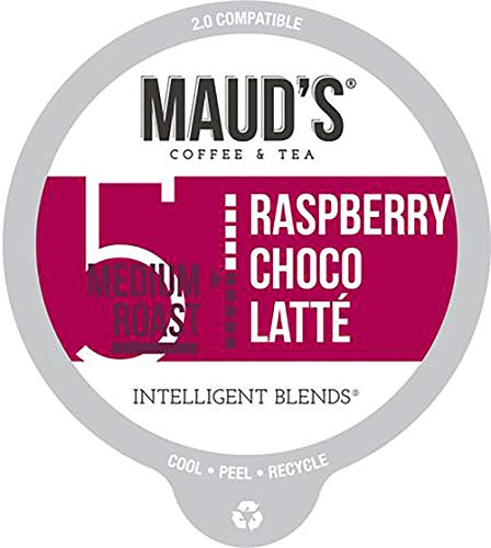 Maud's Raspberry Chocolate Flavored Coffee (Raspberry Choco-latte), 60ct. Recyclable Single Serve Coffee Pods – Richly Satisfying Arabica Beans California Roasted, K-Cup Compatible Including 2.0