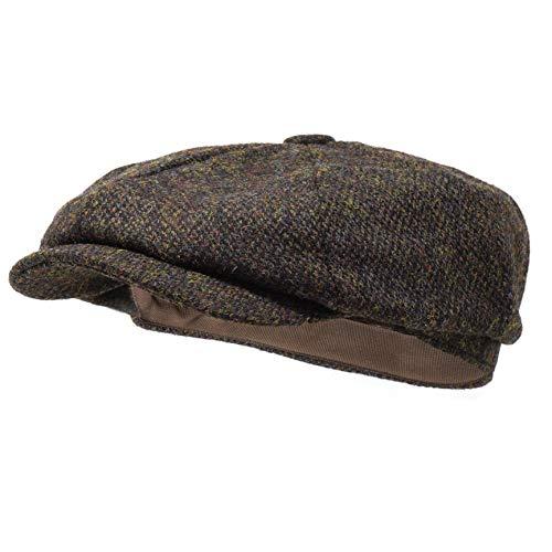 Borges & Scott Lomond Schirmmütze Newsboy – Schiebermütze aus 100% handgewebter Wolle - Harris Tweed - wasserabweisend - Kaffee 62cm