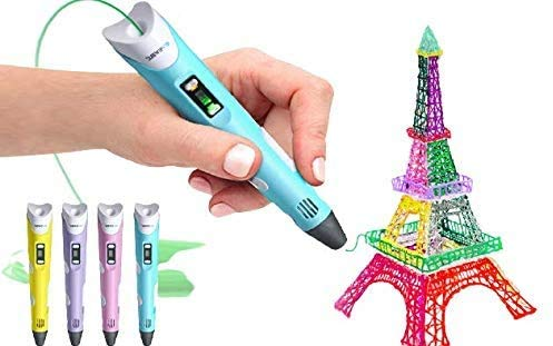 TOTAL GIFT 3D Drawing Printing Pen Intelligent 3D Pen with 3 Colours 1.75mm PLA Filaments Arts Crafts LCD Display Safety Design Christmas Xmas Gift Gifts Toy Toys for Kids Adults UK USB (Pink)