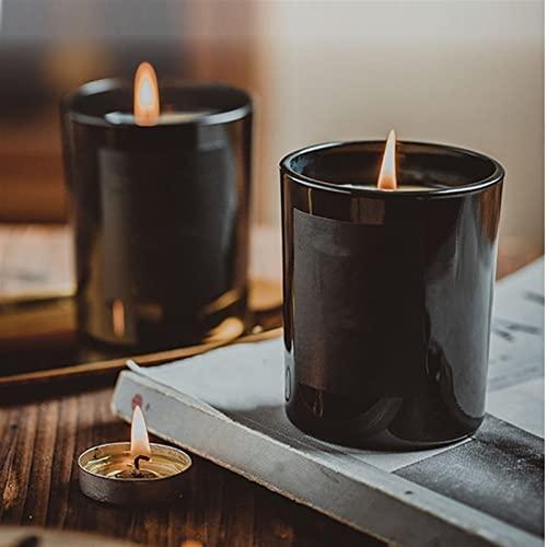 ENHONGDZ Candele Naturali di Cera di soia Vaso di Sandalo profumato profumato Candele Nero Contenitore di Vetro Decorativo (Color : Tuberose, Size : 1)
