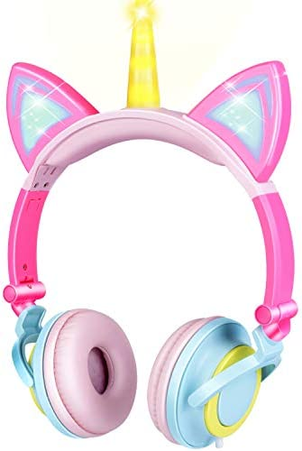 GBD Unicorn Kids Headphones for Girls Boys Toddlers Tablet School Supply Gifts,Light Up Adjustable Wired Kids Pink Headphones Cat Ear Foldable Over On Ear Game Headset Travel Birthday Gifts