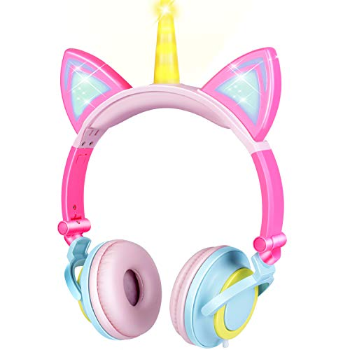 GBD Unicorn Kids Cat Ear Headphones for Girls Boys Toddlers Tablet School Supply Gifts,Light Up Wired Kids Pink Headphones Over On Foldable Ear Game Headset Travel Valentines Day Birthday Gifts