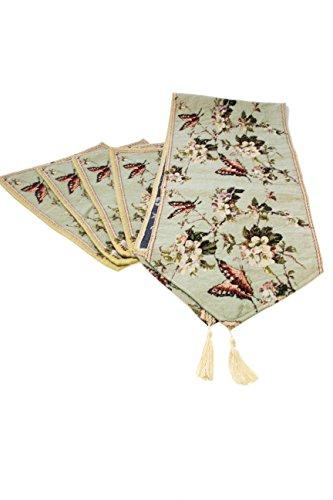 Sin marca 4*Mantal de algodón diseñado de Jacquard decoración de Mariposa Flores Elegante tapicería con 1*Camino de Mesa para Tabla, cojín y cocinar (1 Serie)