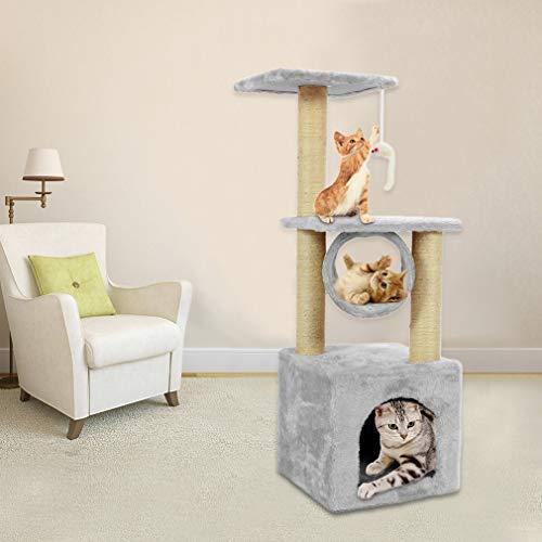 blackpoolal Katzen Kratzbaum,Kletterbaum mit vielen Kuschel- und Spielmöglichkeiten, Diverse Farben (Milchig weiß- 90cm)