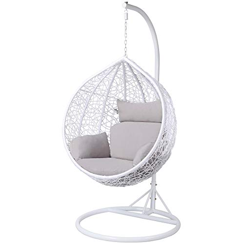 Yaheetech Rattan Swing Chair Wicker Weave Hanging Egg Chair Indoor or Outdoor with Cushion and Cover for Living Room/Garden/Patio White