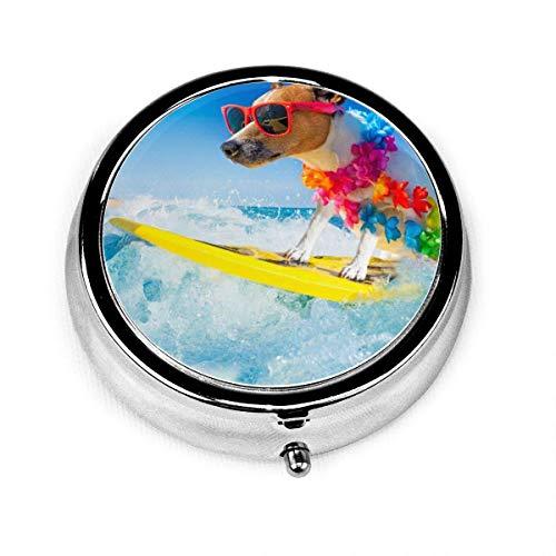 Cane Surf Estate Vacanza Personalizzata Moda Argento Rotondo Pillola Box Medicina Tablet Holder Portafoglio Organizzatore Custodia per Tasca O Borsa Vitamina Organizzatore Titolare Scatola Decorativa