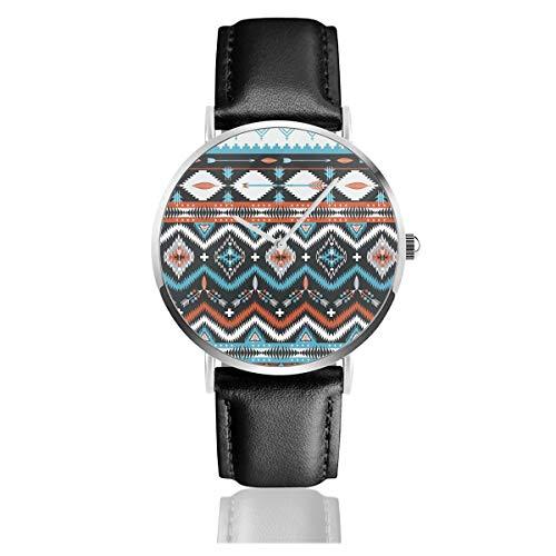 Indianer Nahtloses Tribal-Muster mit geometrischen Elementen Klassisch Casual Fashion Quarzuhr Edelstahl Lederband Uhren