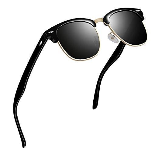 VVA Gafas de sol polarizadas clásico retro medio marco para Hombre y Mujer V1002(Lustroso Negro)