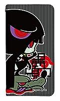 [arrows NX9 F-52A] ベルトなし スマホケース 手帳型 ケース 8324-C. 涙を流す黒頭巾 かわいい 可愛い 人気 柄 ケータイケース ヌヌコ 谷口亮
