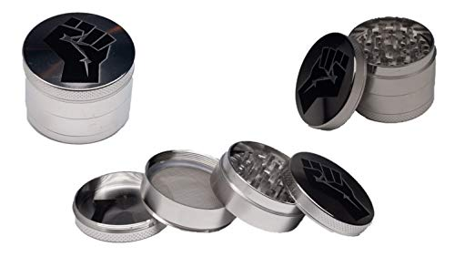BLACK LIVES MATTER GRINDER FOR HERBS SPICES AND OTHER PRODUCTS BY GANATRA BRAND 4 PC WITH SCRAPER (Large, Fist Gunmetal)