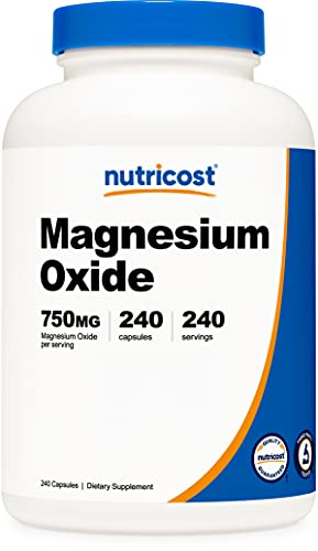 Nutricost Magnesium Oxide 750mg, 240 Capsules -...