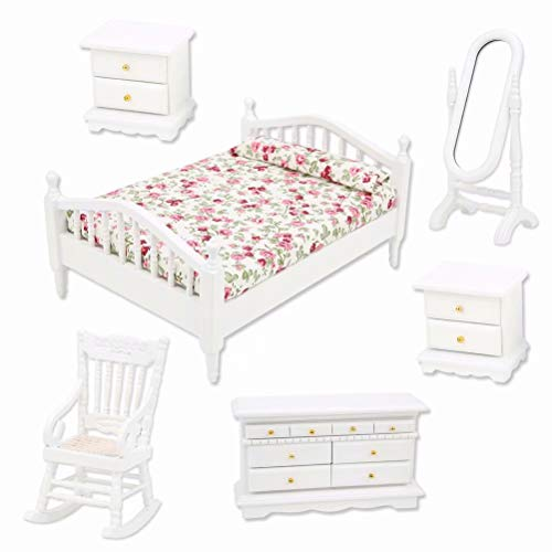 iLAZ 1:12 Scale Dollhouse Furniture Miniature Bedroom Furniture Bedroom Set 6pcs for Doll House, Miniature Accessory Kids Pretend Toy, Creative Birthday Handcraft Gift