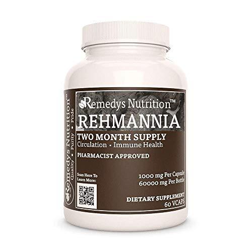 Rehmannia Remedy's Nutrition MEGA Strength 1,000 mg per Capsule/60,000 mg per Bottle Vegan VCaps
