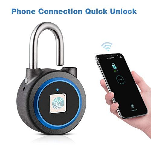 B&H-ERX vingerafdruk Smart hangslot, Bluetooth beveiligingsslot waterdicht anti-diefstal sleutelloze hangslot buiten voor sportschool, deur, rugzak, bagageruimte, fiets, kantoor