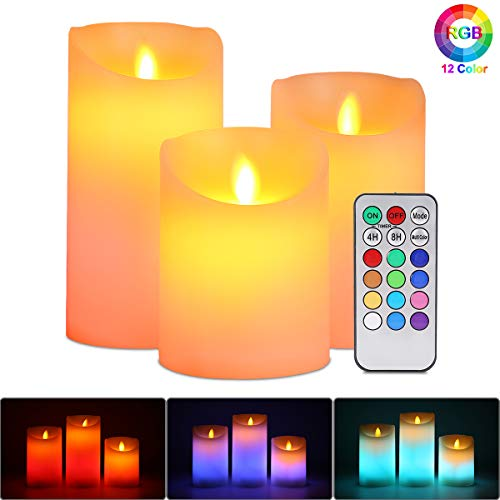 Candele LED Senza Fiamma Set Luci, ALED LIGHT Bianco Caldo Multicolor Real Wax Pilastro Luce Pile Elettrico Wick Flickering Candle Lights con Timer Telecomando per Natale Feste Decorazione Matrimonio