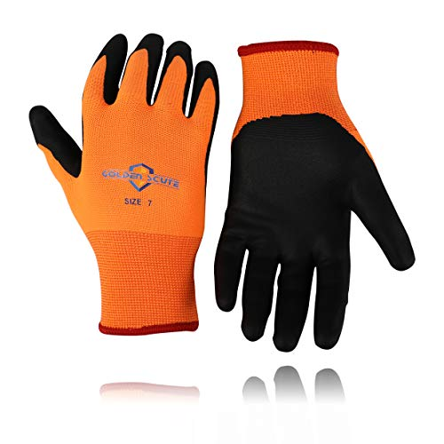 Golden Scute 2 Pairs Freezer Winter Work Gloves, Fleece Lining, Cold Weather Gloves, Touchscreen, Tight Grip Palms - (Size L/Size 9)