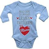 Mikalino Babybody mit Spruch für Jungen Mädchen Unisex Langarm Alles Liebe zu deinem ersten Muttertag | handbedruckt in Deutschland, Farbe:Sky, Grösse:68