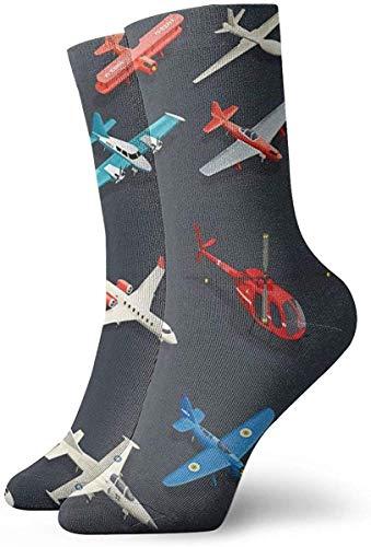 Lustige Socken für Flugzeuge, Helikopter, Childish, Stil, bedruckt, Sport, Athletik, 30 cm, lang, Geschenk
