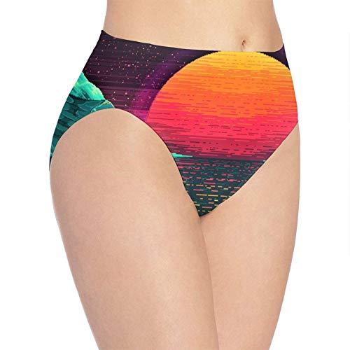 XCNGG Bragas Ropa Interior de Mujer 3D Print Soft Women's Underwear, Neon Landscape Fashion Flirty Lady'S Panties Briefs XL