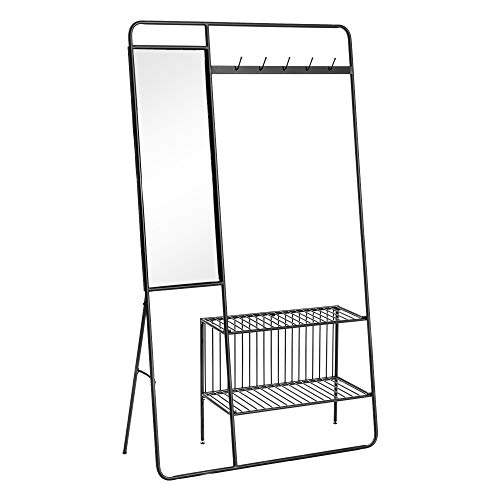 Perchero Burro Industrial Negro de Metal, con Espejo, de 101x28x180 cm. - LOLAhome