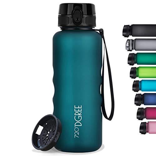 "720°DGREE Botella de Agua ""uberBottle"" softTouch +Tamiz – 350ml, 500ml, 650ml, 1000ml, 1500ml | Sin BPA-Free, Impermeable, Reutilizable | Ideal para Beber, Niños, Deporte, Escuela, al Aire Lib"