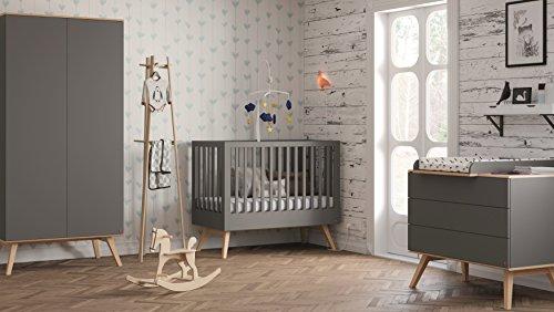 Babyzimmer Kinderzimmer komplett Set Nils Grafit Bett Schrank Kommode weiß oder grafit