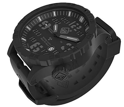 Heavy Water Diver(TM) Titanium Tritium Dive-Watch by Hazard 4(R): Black PVD, BLK Dial/WHT Graphics - GGYG