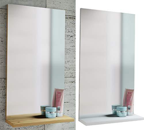 VCM Spiegel Badspiegel Wandspiegel mit Ablage Badmöbel Sesal 60 x 35 x10 cm Weiß