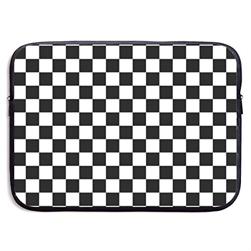 Laptop Sleeve Water-Resistant Neoprene Notebook Checkerboard Black and White Computer Pocket Tablet Carrying Bag Cover
