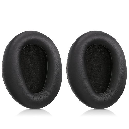 kwmobile 2X Earpads Compatible with Sony MDR-10RBT / 10RNC / 10R - PU Leather Ear Pads for Headphones - Black
