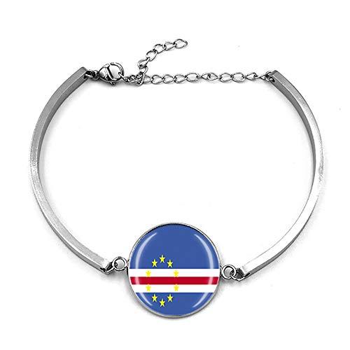 Pulsera ajustable estilo bandera de Cabo Verde para regalo de recuerdo de viaje