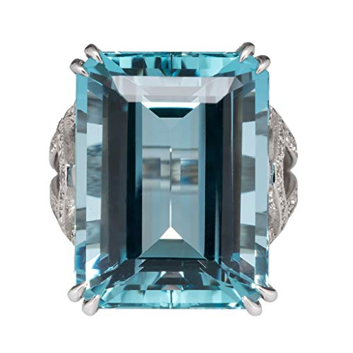 UINGKID Schmuck Damen Ring Modetrends geometrisches Rechteck Blue Topas Lady Jewelry