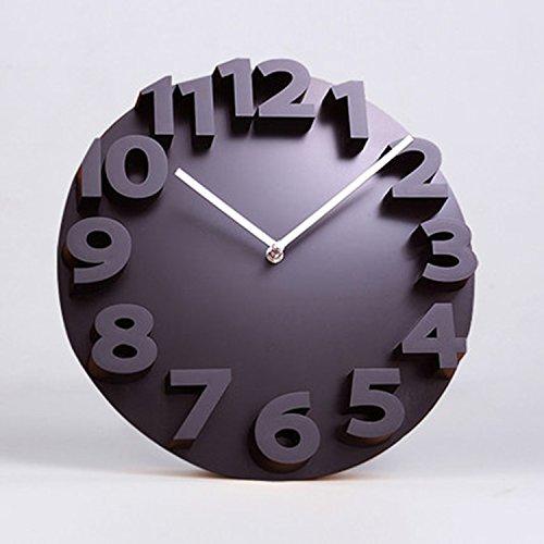 horloge murale CivilWeaEU Créative Salle de Séjour 3D Montres Stéréoscopiques personnalité et horloges Liées à la Table Mode Art numérique (Couleur : Noir)