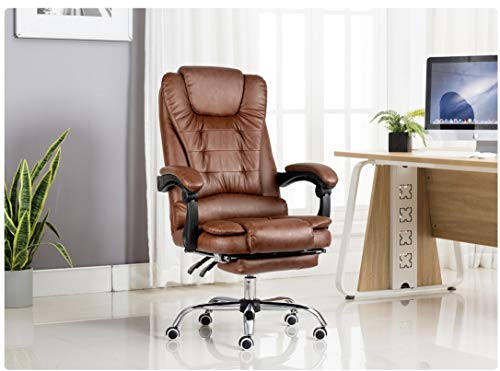 Kepler Brooks Italia Leatherette High Back Reclining Desk Chair with Leg Rest (Brown)