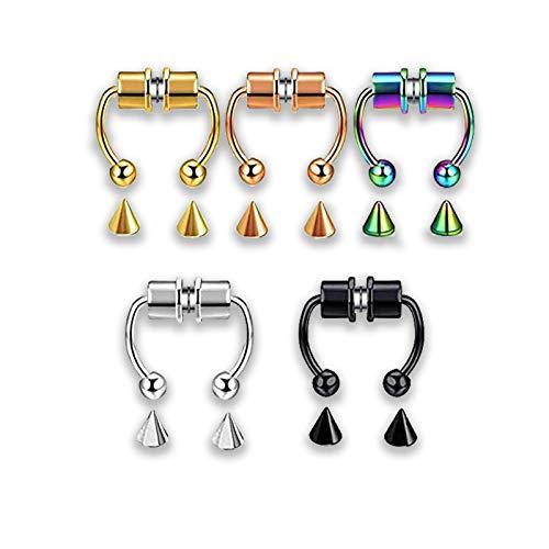 Anillo magnético para la nariz, anillo de herradura falso para la nariz joyería Piercing tabique reutilizable para mujeres y hombres