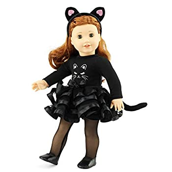 Emily Rose 18 Inch Doll Clothes for My Life and American Girl Dolls | 18  Doll 5 Piece Black Cat Costume Outfit Includes Cat Ears Tights and Shoes | Doll Clothes for Journey Girl Dolls