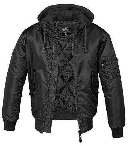 Brandit MA1 Sweathood Bomberjacke, schwarz mit schwarzer Kapuze, Größe L