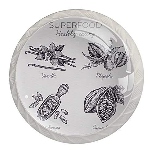 Superfood, Perillas para gabinete de cocina armario de cristal transparente tirones de 3,5 cm de diámetro con tornillos para aparador de baño armario