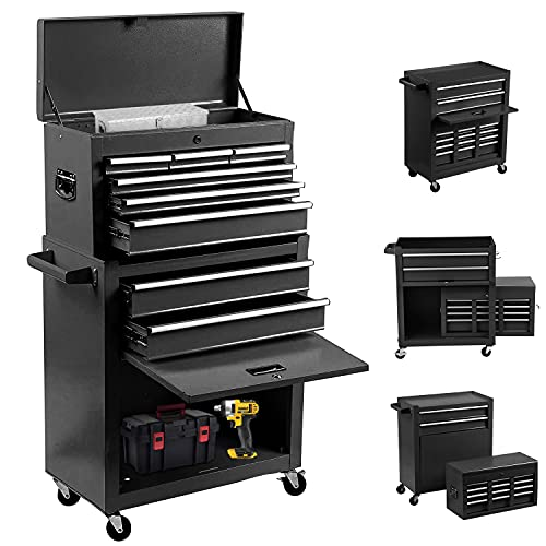 8-Drawer Rolling Tool Chest 2 in 1 High Capacity Tool Box Detachable Organizer Tool Storage Cabinet with 4 Wheels & Lockable Lined Drawers for Garage Warehouse Workshop (Black)