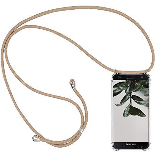 CLM-Tech Carcasa con Cuerda para Colgar Compatible con Samsung Galaxy J5 2017 - Funda Silicona Transparente con Cordon para Llevar en el Cuello, Beige