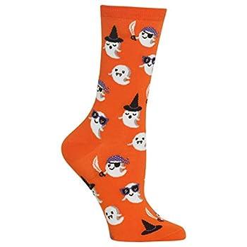 Hot Sox-Women s Holiday Fun Novelty Crew Socks Cute Ghost  Orange  Shoe Size  4-10  HO002511-WEB-C