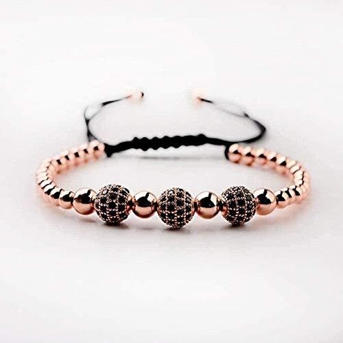 zhuangpuxu Necklace Necklace Luxury Braided Macrame Bracelets Men 8Mm Balls Beads Yoga Bracelet Jewelry Gift