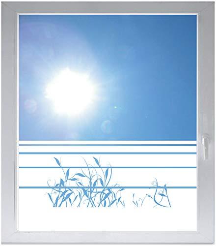 INDIGOS UG Sichtschutzfolie Glasdekorfolie Fensterfolie mit Motiv satiniert Blickdicht - w208 Schilf Bambus Ranke - 1000 mm Länge - 500 mm Höhe Streifen