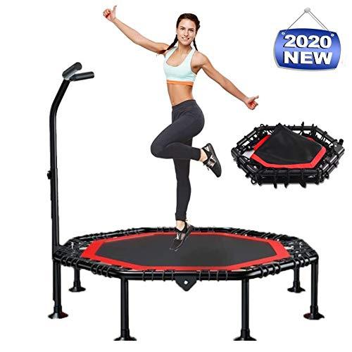 CTEGOOD Trampolin faltbar mit Haltestange Indoor, Max bis 300kg Nutzergewicht, leise Indoor Outdoor Trampolin für Jumping, einfache Montage50 in