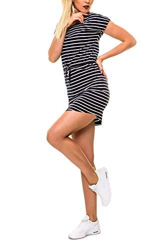 ONLY Damen Shirtkleid Jerseykleid mit Print (L, Night Sky/Cloud Dancer Stripes)