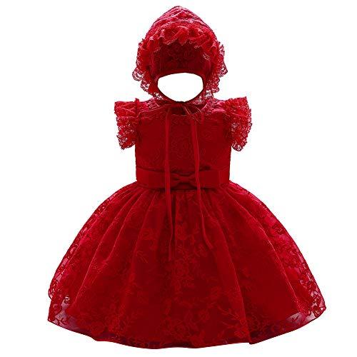 FYMNSI Baby Mädchen Kleid Taufkleid mit Mütze Spitze Stickerei Kurzes Abendkleid Besondere Anlässe Taufe Festlich 1 Jahr Geburtstag Partykleid Prinzessin Hochzeit Blumenmädchenkleid Rot 12-18 Monate